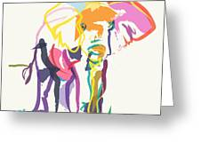 Elephant In Color Ecru Greeting Card