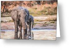Elephant Mother And Calf Greeting Card