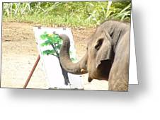 Elephant Charlie Paints The Tree Of Life Greeting Card