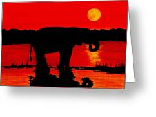 Elephant Silhouette African Sunset Greeting Card