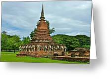 Elephant Stupa At Wat Sarasak In Sukhothai Historical Park-thailand Greeting Card