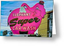 Elephant Super Car Wash Greeting Card