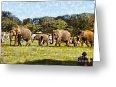 Elephant Train  Greeting Card