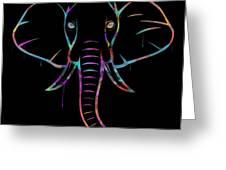Elephant Watercolors - Black Greeting Card