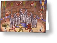 Elephants And Acrobats Greeting Card