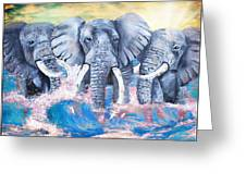 Elephants In The Tide Greeting Card