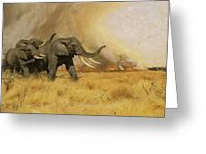 Elephants Moving Before A Fire Greeting Card