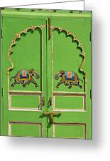 Elephants Painted On Green Door, City Greeting Card