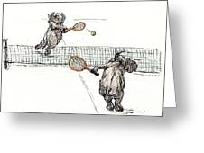 Elephants Playing Tennis Greeting Card