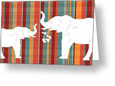 Elephants Share Greeting Card by Alison Schmidt Carson