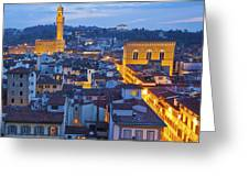 Elevated Night View Of Central Florence Greeting Card
