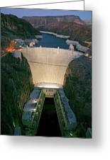 Elevated View At Dusk Of Hoover Dam Greeting Card
