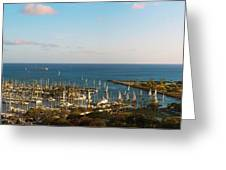 Elevated View Of Boats At A Harbor Greeting Card