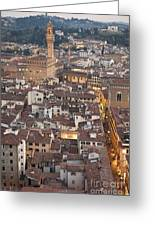 Elevated View Of Florence Greeting Card