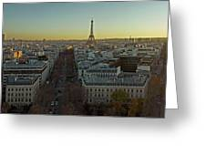 Elevated View Of Paris From Arc De Greeting Card