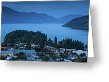 Elevated View Of Town At Dawn Greeting Card