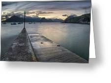 Elgol Pier And Boats With Cuillin Greeting Card