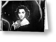 Elizabeth Taylor - Black And White Film Greeting Card by Absinthe Art By Michelle LeAnn Scott