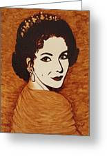 Elizabeth Taylor Original Coffee Painting On Paper Greeting Card