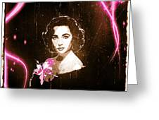 Elizabeth Taylor - Pink Film Greeting Card by Absinthe Art By Michelle LeAnn Scott