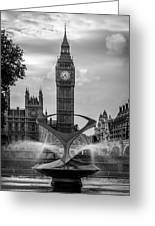 Elizabeth Tower Black And White Greeting Card