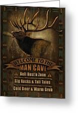 Elk Man Cave Sign Greeting Card