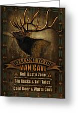 Elk Man Cave Sign Greeting Card