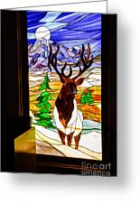 Elk Stained Glass Window Greeting Card by Robert Bales