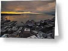 Elliott Bay Seattle Evening Greeting Card