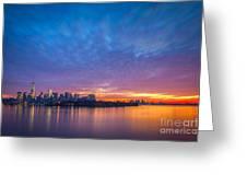 Ellis Island And Manhattan Sunrise Greeting Card