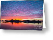 Ellis Island Silhouette Sunrise Greeting Card