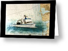 Elly Crab Fishing Boat Nautical Chart Map Art Greeting Card