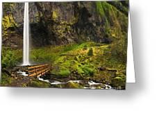 Elowah Falls Panorama -  Columbia River Gorge In Oregon Greeting Card