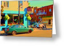 Elses Pub Cafe Plateau Montreal Corner Roy And De Bullion City Scene Art Of Montreal Carole Spandau Greeting Card