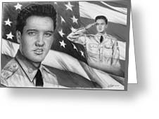 Elvis Patriot Bw Signed Greeting Card by Andrew Read
