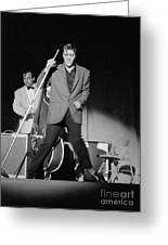 Elvis Presley And Bill Black Performing In 1956 Greeting Card