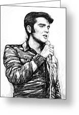 Elvis Presley Art Drawing Sketch Portrait Greeting Card