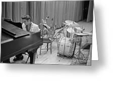Elvis Presley On Piano Waiting For A Show To Start 1956 Greeting Card