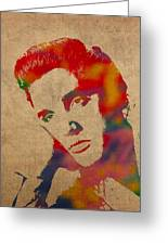 Elvis Presley Watercolor Portrait On Worn Distressed Canvas Greeting Card