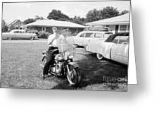 Elvis Presley With His 1956 Harley Kh Greeting Card