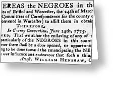 Emancipation Notice, 1775 Greeting Card