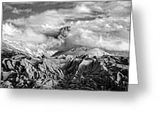 Embraced By Clouds Black And White Greeting Card