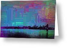 Emerald City Skyline Cubed Greeting Card