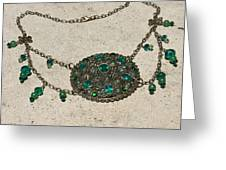 Emerald Vintage New England Glass Works Brooch Necklace 3632 Greeting Card