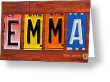 Emma License Plate Name Sign Fun Kid Room Decor Greeting Card