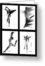 Emotions In Black - Abstract Quad Greeting Card