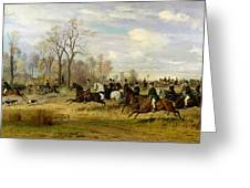 Emperor Franz Joseph I Of Austria Hunting To Hounds With The Countess Larisch In Silesia Greeting Card