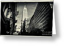 Empire State Building And Macys In New York City Greeting Card by Sabine Jacobs