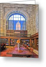 Empire State Building At The New York Public Library Greeting Card
