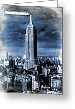 Empire State Building Blimp Docking Blue Greeting Card